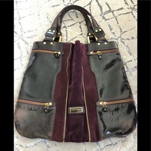 Jimmy Choo expandable suede and leather handbag